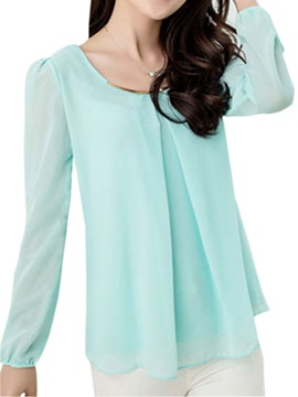 Fashionable Korean Style Slim Long Sleeves Chiffon Large Size Blouse