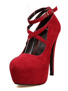 Best Quality Red Cloth With Cross Ankle Straps Stiletto Heels Prom Shoes