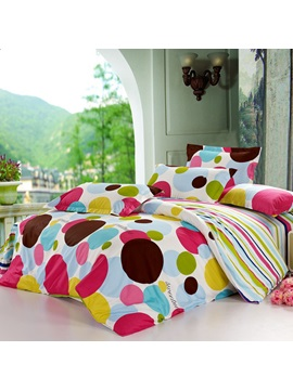Beautiful Cotton Cute Colorful Dot Cotton 4 Piece Bedding Sets