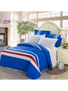 Luxury Stars Shape Blue Color High Quality 4 Piece Bedding Sets