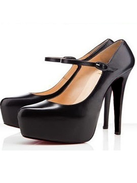 Simple Style Black Pu Upper Platform Stieltto Heels