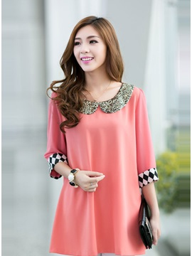 Modern Chiffon Paillette Peter Pan Collar Diamonds Print Cuffs Dress