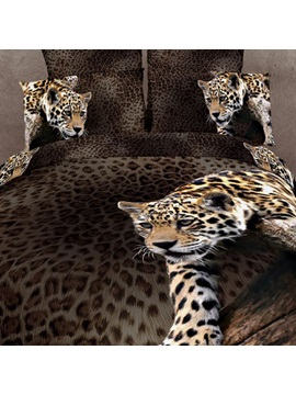 Smart Climbing Leopard Pattern 4 Piece 3d Bedding Sets