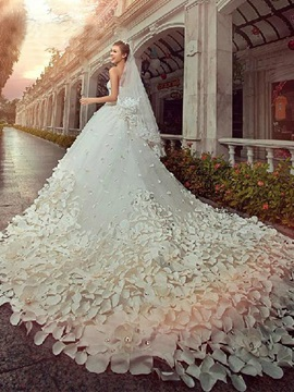 Gorgeous A Line Floor Length Patterned Flower Beading Cathedral Wedding Dress