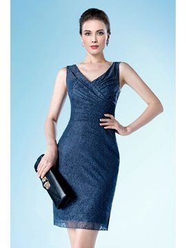 Classic Short Mini Length Column Sheath Lace V Neck Formal Dress