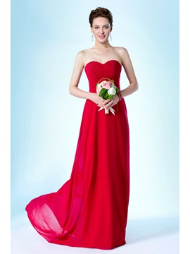 Simple Style Pretty Strapless Sweetheart Ruched Court Train Floor Length Bridesmaid Dress