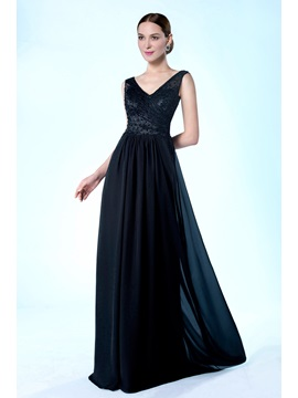 High Quality V Neckline Beading Floor Length A Line Mother Of The Bride Dress