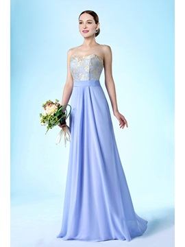 New Fashion Strapless Up Floor Length A Line Bridesmaid Dress