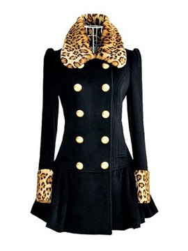 New Slim Puff Sleeves Wool Long Korean Leopard Print Overcoat