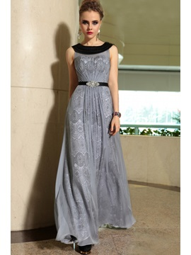 Elegant Sleeveless Lace Crystal Floor Length Evening Dress