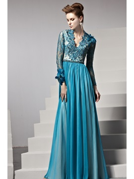 Luxurious A Line V Neck Lace Button Feather Long Sleeves Long Evening Dress