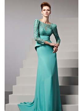 Bateau Lace Beading Backless 3 4 Length Sleeves Floor Length Evening Dress