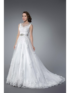Elegant Beading Sequins Chapel Train Zipper Up Jewel Neck Sleeveless Tulle Wedding Dress
