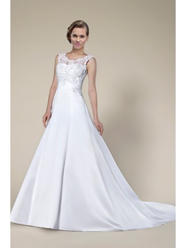 New Fashion Style Lace Sleeveless Chapel Train Wedding Dress