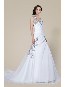 Popular Halter Beading Lace Up Court Train Floor Length Wedding Dress