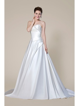 Strapless Pearls Sweetheart Neckline Beading Court Train Wedding Dress