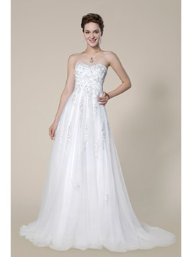 Straplessapplique Beading Empire Zipper Up A Line Sweep Brush Wedding Dress