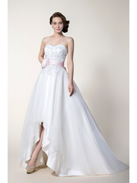 Stunning A Line Asymmetry Hemline Sashes Ribbons Wedding Dress