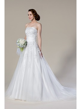 Faddish Strapless Appliques Court Train Sleeveless A Line Wedding Dress