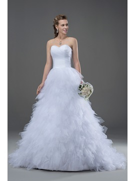 Court Train A Line Ruffles Wedding Dress