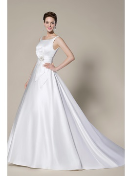 Noble Simple Style Scoop Zipper Up Court Train A Line Wedding Dress