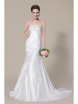 Charming Strapless Beading Applique Lace Up Court Train Trumpet Wedding Dress