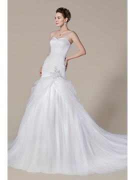 Trendy Trumpet Mermaid Sweetheart Chapel Train Beading Floor Length Wedding Dress