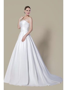 Simple Ruched Matte Satin Chapel Train Zipper Up Strapless Wedding Dress
