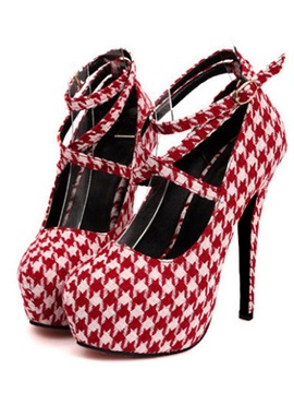 Fabulous Top Quality Round Toe Lace Up Plaid Stiletto Platform Women Shoes