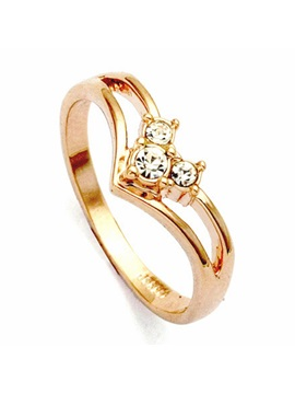 Distinctive Golden Alloy With Crysatl Womens Ring
