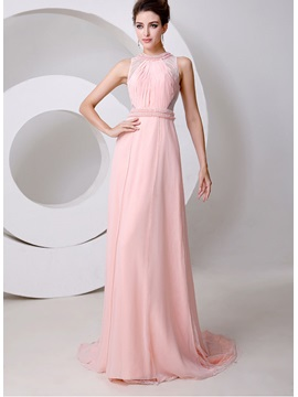 Graceful Jewel Neck Pearls Beading A Line Court Train Long Evening Dress