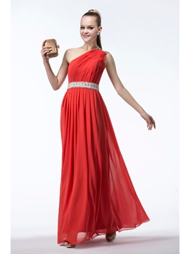 Enchanting A Line One Shoulder Zipper Up Sequins Beading Bridesmaid Dress