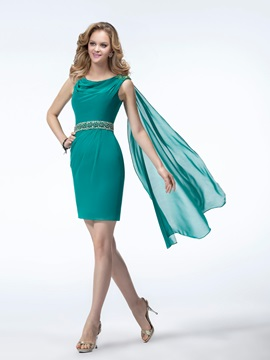 Beautiful Column Cowl Neckline Short Length Beading Party Cocktail Dress
