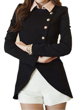 Stylish Asymmetrical Hem Single Breasted Pure Color Blazer