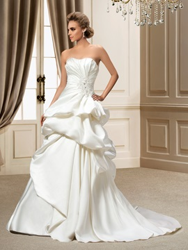 Strapless Beading Sequins Pick Ups Chapel Train A Line Wedding Dress