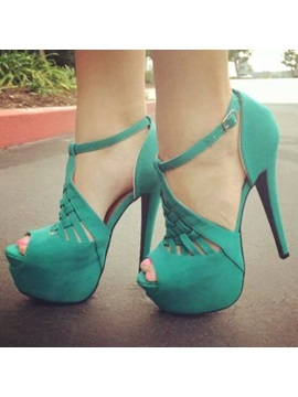 Most Popular Cheap Green Peep Toe Multi Strap Stiletto Heel Pumps