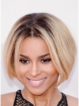 Ciara Hairstyle Remy Human Hair Bob Cut Hand Tied Full Lace Wig About 8 Inches