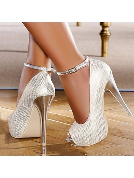 Ankle Strap Peep Toe Platform Pumps