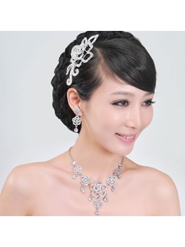 Grand Flower Shaped Alloy With Rhinestone Wedding Bridal Jewelry Set Including Headwear Necklace And Earrings