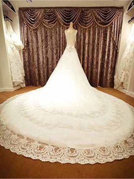 Luxurious Floor Length A Line Crystal Bateau Neck Cathedral Wedding Dress