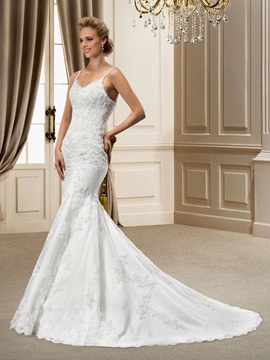 Elegant Mermaid Spaghetti Straps Chapel Appliques Incredible Wedding Dress