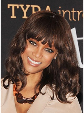 Custom Typical Tyra Banks Hairstyle 100 Human Hair Modern Long Bob Wig About 14 Inches