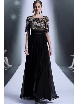 A Line Half Sleeves Scoop Appliques Evening Dress