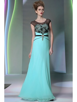 Popular Applique A Line Scoop Neckline Filament Floor Length Evening Dress
