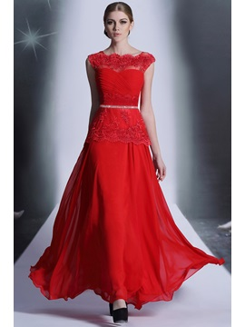 Pretty Bateau Neckline Appliques Crystal A Line Floor Length Evening Dress