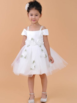 Cute Short Straps Flowers Knee Length Flower Girl Dress
