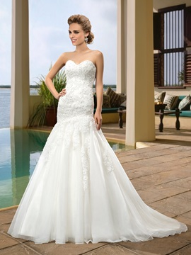 Simple Style Sweetheart Zipper Up Floor Length Beading Trumpet Mermaid Wedding Dress