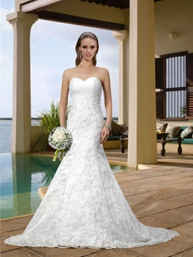 Alluring Sweetheart Lace Court Train Trumpet Wedding Dress