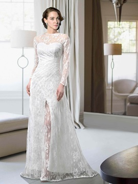 Lace Long Sleeves Bateau Split Front Bateau Neckline Wedding Dress