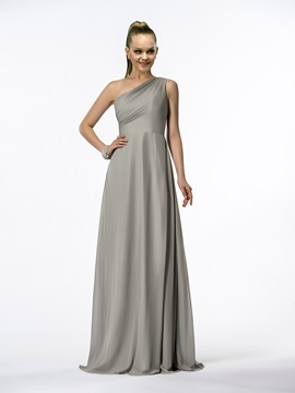 Simple A Line Pleats One Shoulder Floor Length Bridesmaid Dress